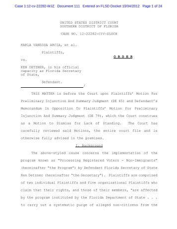 Order Denying Motion for Preliminary Injunction - Moritz College of ...