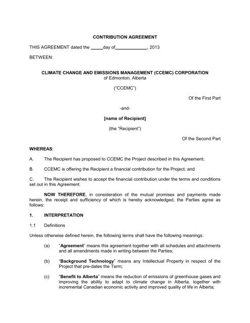 Contribution Agreement This Agreement Dated Ccemc