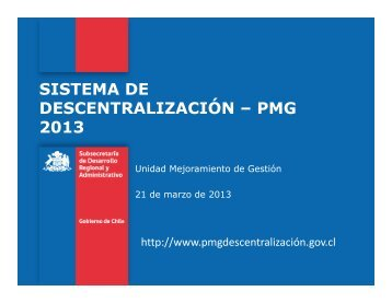 SISTEMA DE DESCENTRALIZACIÓN – PMG 2013
