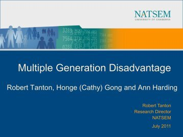 Multiple Generation Disadvantage - NATSEM