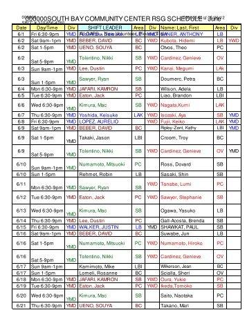 RSG Schedule 2012-June - SGI-USA South Bay Community center