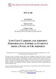 Low Cost Carriers and Airports Performance - The Rimini Centre for ...
