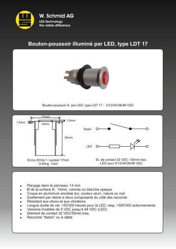 Bouton-poussoir illuminé par LED, type LDT 17