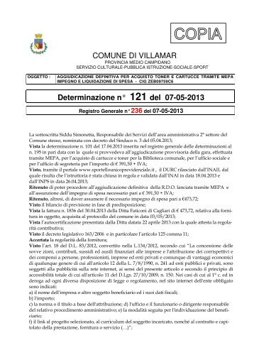 Scarica la Determina Servizio Socio - Culturale n. 121/2013