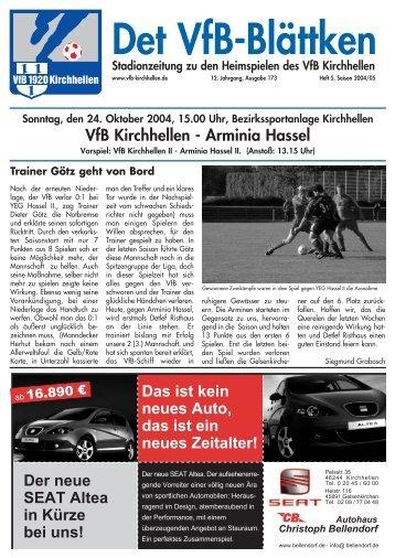 Sonntag, den 24. Oktober 2004, 15.00 Uhr ... - VfB Kirchhellen