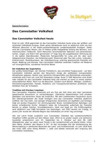 Basisinformationen Cannstatter Volksfest 2010