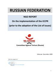 Committee Against Torture (Russia) - Office of the High ...