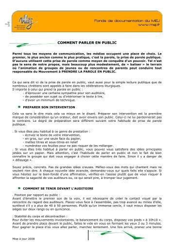 COMMENT PARLER EN PUBLIC - MEJ