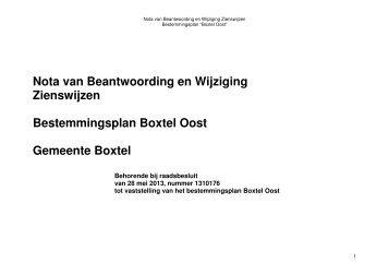 Nota van zienswijzen - Gemeente Boxtel