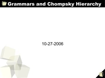 Grammars and Chompsky Hierarchy