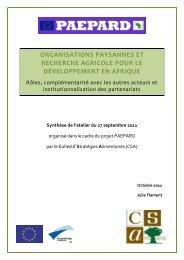 OP et recherche agricole pour le développement en Afrique - CSA
