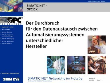 Networking for Industry Was ist OPC DX - CERN