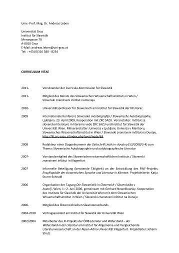Prof. Mag. Dr. Andreas Leben Universität Graz Institut für Slawistik ...