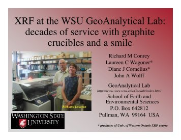 XRF at the WSU GeoAnalytical Lab - University of Western Ontario