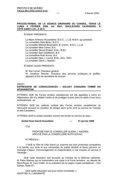 2009-02-09 - City of Côte Saint-Luc