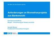 Anforderungen an Biomethanprojekte aus Bankensicht - wetreu