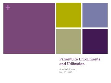 PatientSite Enrollments and Utilization - Project Management in ...