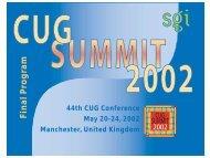 SGI-focused Program - Cray User Group