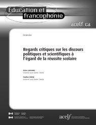 Éducation et francophonie, vol. XXXIX, n o 1, printemps 2011 - acelf