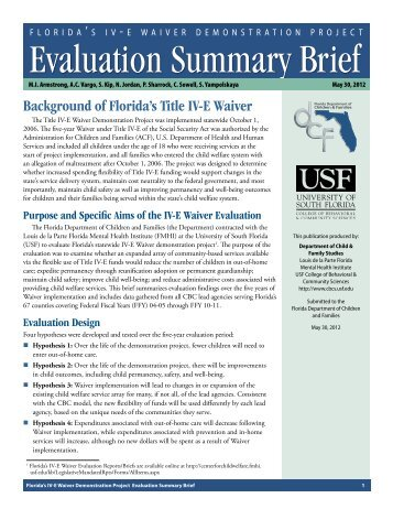 FL IV-E Waiver Evaluation Summary Brief - Child & Family Studies