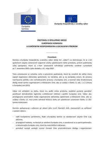 protokol o spolupráci medzi európskou komisiou a európskym ...