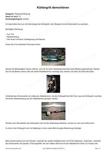 Kühlergrill demontieren - Peugeotforum