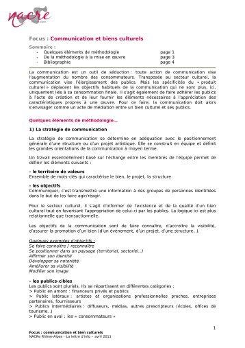 Focus : Communication et biens culturels - La NACRe