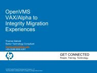 OpenVMS VAX/Alpha to Integrity Migration Experiences