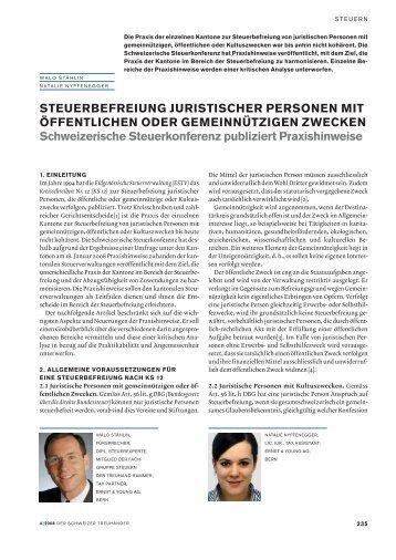 Steuerbefreiung juristischer Personen mit öffentlichen ... - Schweiz