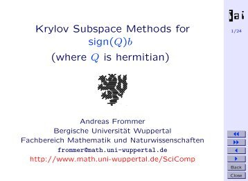 Krylov Subspace Methods for sign(Q) - Bergische Universität ...