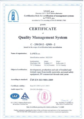 ISO 9001 Certification - Singing Rock