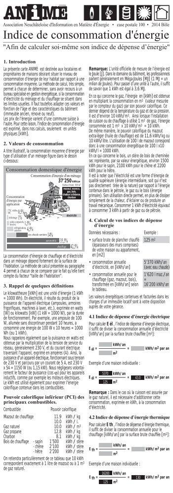 Indice de consommation d'énergie - ANIME - Association ...