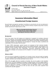 Unauthorised Foreign Insurers - NCOSS