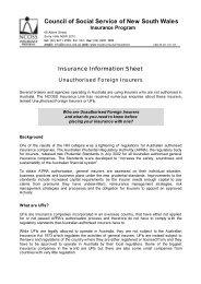 Unauthorised Foreign Insurers - NCOSS