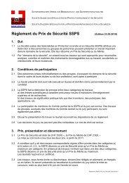 Règlement du Prix de Sécurité SSPS - VBSF