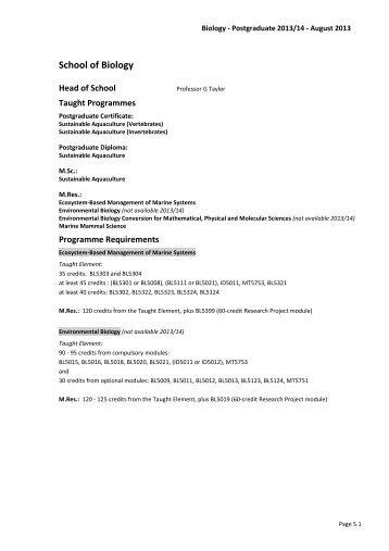 PG Biology 2013 - CM-DTC
