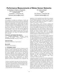 Performance Measurements of Motes Sensor Networks