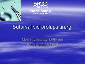 Suturval vid prolapskirurgi - SFOG