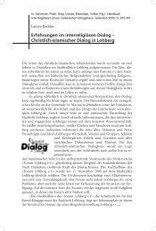 Erfahrungen im interreligiösen Dialog - Christlich-islamischer Dialog ...