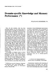 Domain-specific Knowledge and Memory Performance (*)