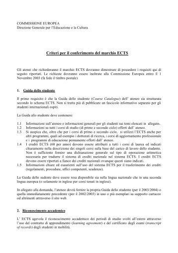Criteri per il conferimento del marchio ECTS - Crui