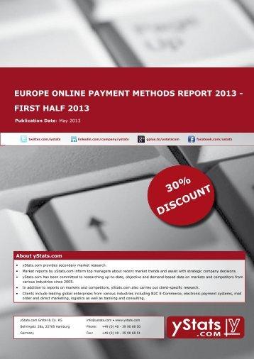 europe online payment methods report 2013 - first half ... - yStats.com
