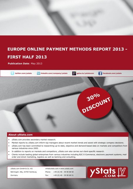 europe online payment methods report 2013 - first half ... - yStats.com
