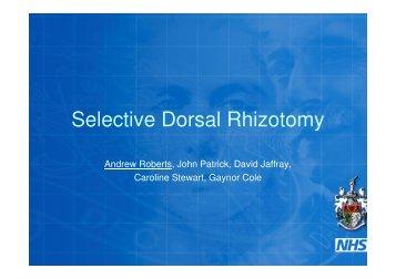 Selective Dorsal rhizotomy in CP