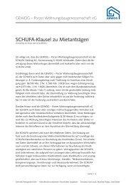 SCHUFA-Klausel zu Mietanträgen - GEWOG