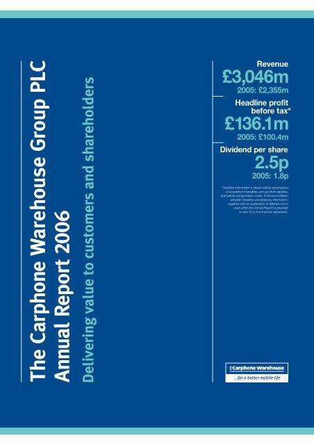Annual Report PDF - Carphone Warehouse Group plc