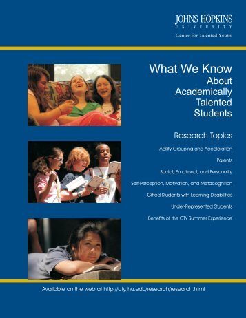 What We Know (PDF) - Johns Hopkins Center for Talented Youth ...