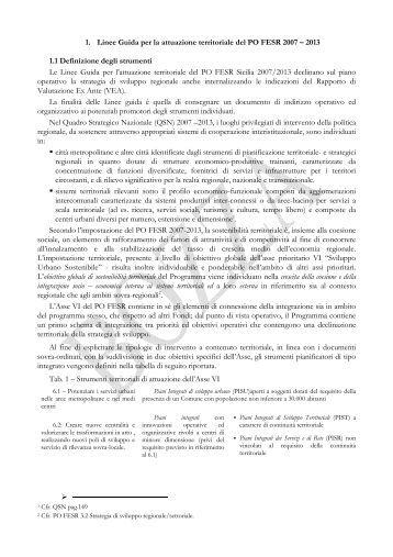 Bozza Linee Guida PO FESR 2007-2013 - Provincia Regionale di ...