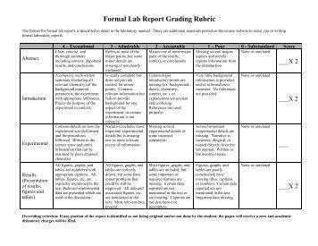 Formal Lab Report Grading Rubric