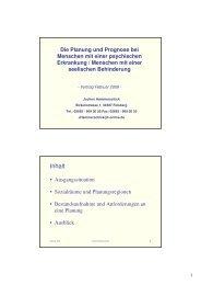 Die Planung und Prognose bei Menschen mit einer psychischen ...